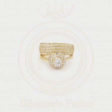 Alliance solitaire  avec un design extrêmement attractif en Or 18 carats