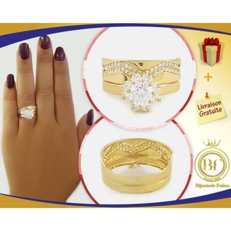 Alliance Solitaire  magnifique en or 18 carats
