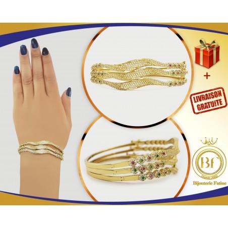 Sertla en trois bracelets très chic en or 18 carats
