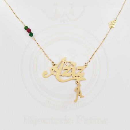 Chaîne Pendentif avec votre Prénom en or 18 carats